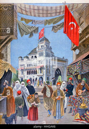 Illustration showing the Turkish (Ottoman Empire) Pavilion, at the Exposition Universelle of 1900. - Stock Image