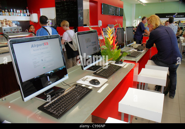 Curaçao Netherlands Antilles Dutch Curacao Hato International Airport internet access computers keyboard mouse - Stock Image