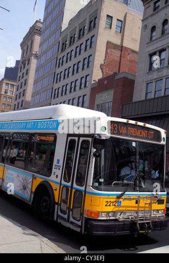 Boston Massachusetts Tremont Street bus public transportation MBTA - Stock Image