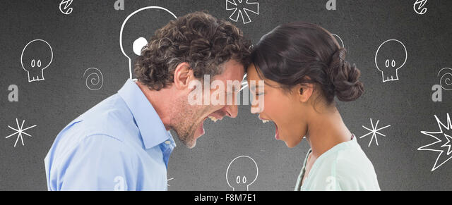 Composite image of angry business people shouting at each other over white background - Stock Image