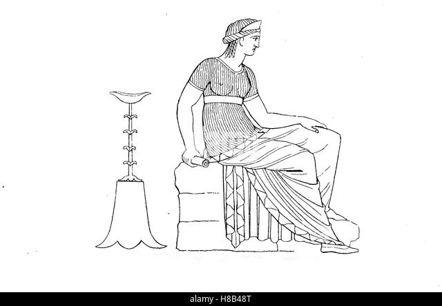 Old-fashioned woman dresses with a narrow and regular fold, according to a Greek vase painting, History of fashion, - Stock Image