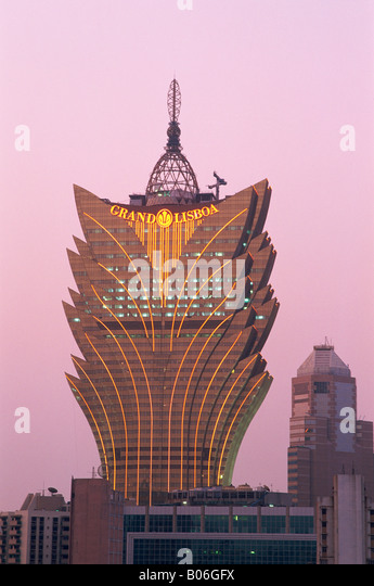 China, Macau, Grand Lisboa Hotel and Casino Night Lights - Stock Image