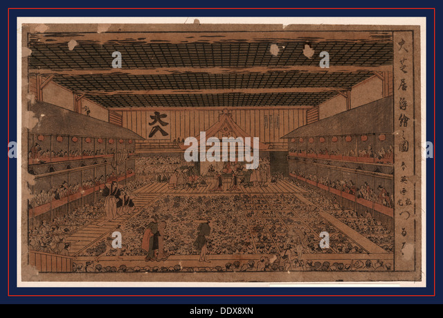 Oshibai ukie no zu, A perspective view of the Grant Theater. [between 1796 and 1815], 1 print : woodcut, color ; - Stock Image