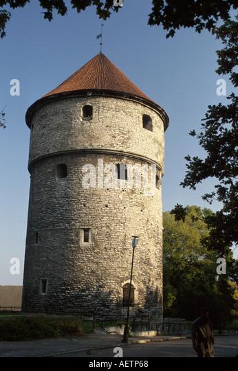 Estonia Tallin Kikindekok Tower built 1500's Old Town historic district - Stock Image