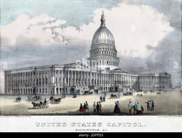 CAPITOL BUILDING, Washington D.C.  Print by Currier & Ives about 1873 - Stock Image