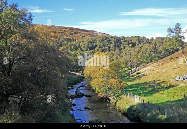 A view of the upper reaches of the River Deveron near the Cabrach, Aberdeenshire, Scotland, United Kingdom. - Stock Image