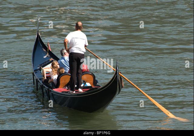 Gondola on Grand Canal, Venice, Italy - Stock Image