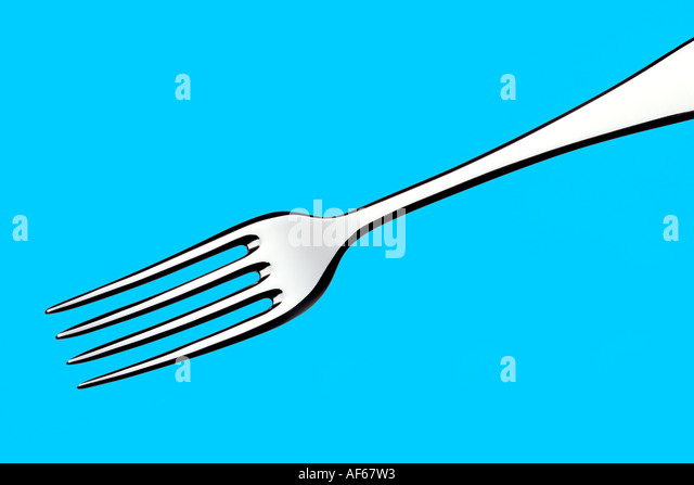 Fork Blue Background - Stock Image