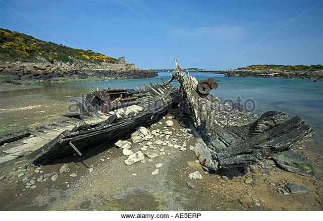 France Normandy Island Chausey Wrecked ship - Stock Image