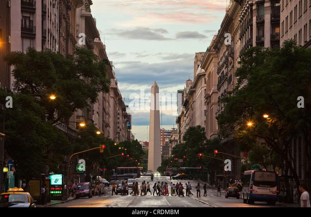 Obelisco de Buenos Aires, obelisk, Buenos Aires landmark, Plaza de la Republica, intersection of avenues Corrientes - Stock Image