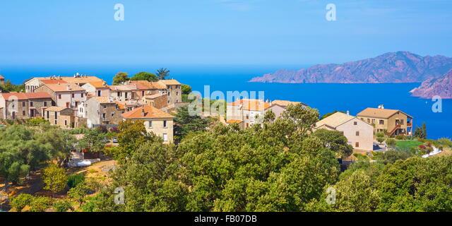 Piana village, Les Calanches, Golfe de Porto, Corsica Island, France, UNESCO - Stock-Bilder
