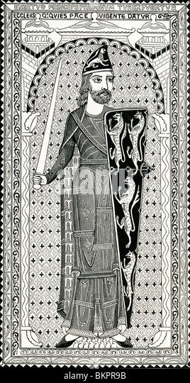 Effigy of Geoffrey Plantagenet, from his tomb at Le Mans. Geoffrey V, 1113 to 1151. - Stock Image