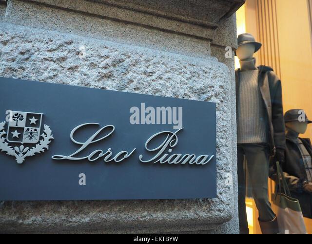 Loro Piana store, Via Montenapoleone, fashion district, Milan, Lombardy, Italy, Europe - Stock Image