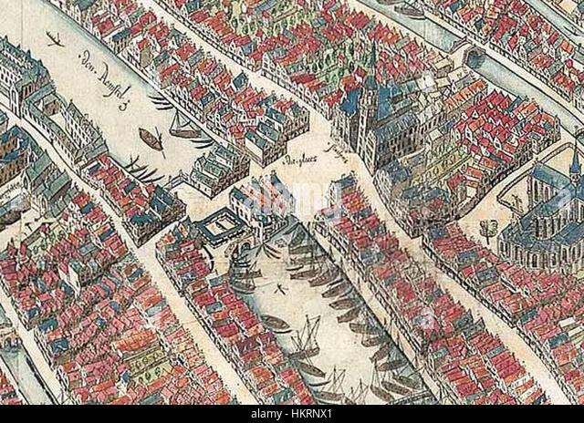 Cornelis Anthonisz. - vogelvluchtkaart amsterdam 1544 - Detail Dam - Stock Image