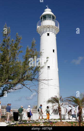 Grand Turk Lighthouse built 1852 North East Point tour group - Stock Image
