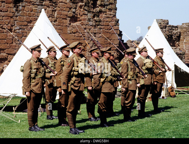 1st World War, British Soldiers, 1914-1918, historical re-enactment WW1 First Great soldier uniform uniforms England - Stock Image