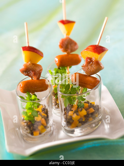 Poultry Skewers with Lentils - Stock Image