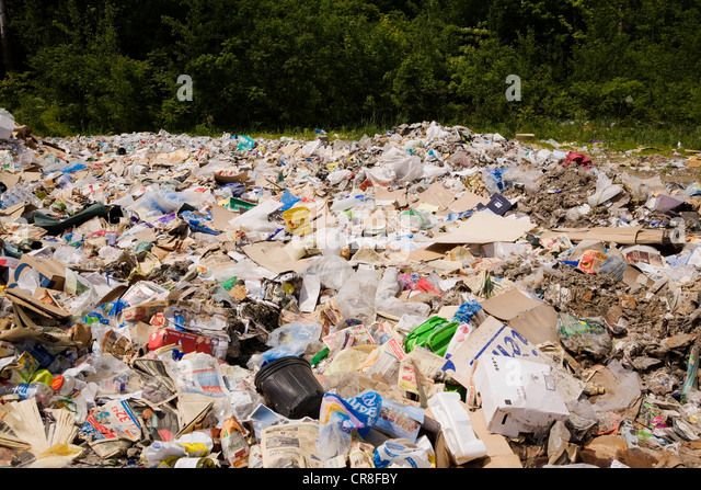 Heap of recyclable materials in sorting centre - Stock Image
