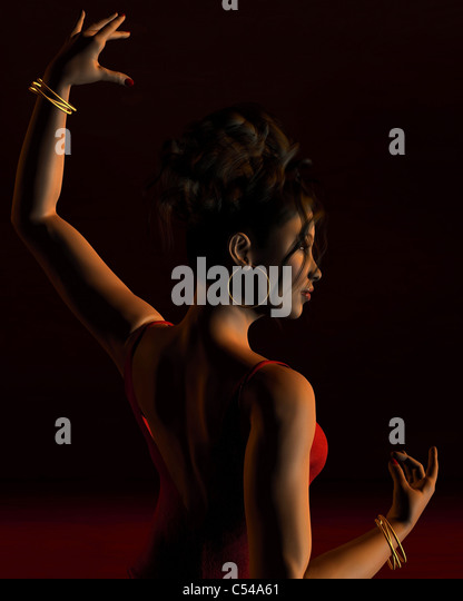 Spanish Flamenco Dancer on a dark stage - 1 - Stock Image