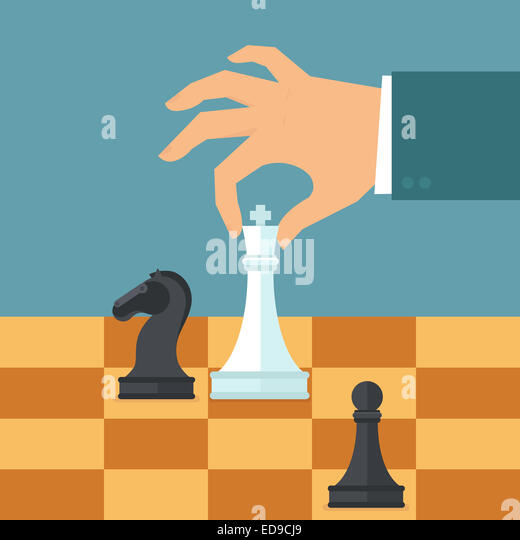 Business strategy concept in flat style - male hand holding chess figure - planning and management - Stock-Bilder
