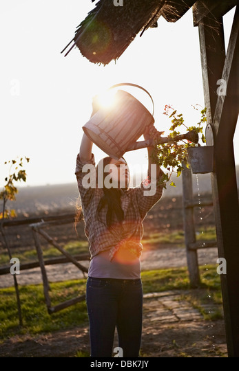 Young Woman Watering Plants, Baranja, Croatia, Europe - Stock-Bilder