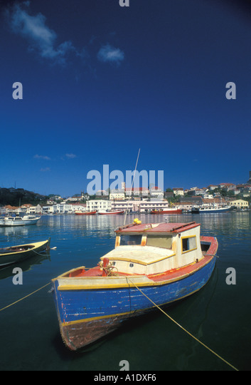 Grenada St Georges Harbour Fishing Boat carenage - Stock Image