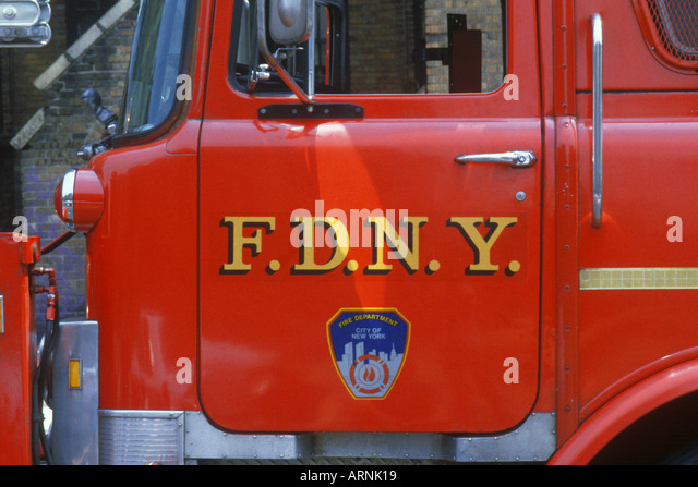 USA New York New York City NYC Fire Engine Detail FDNY - Stock Image