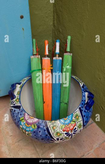 Colorful umbrellas, San Miguel de Allende, MEXICO - Stock Image