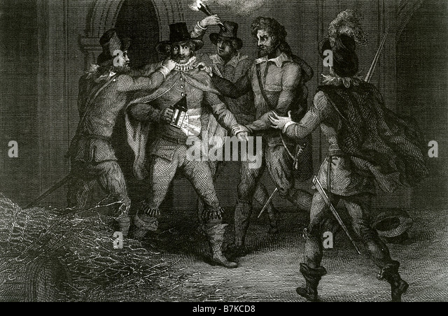 GUY FAWKES is arrested under the Houses of Parliament in 1604 - Stock Image