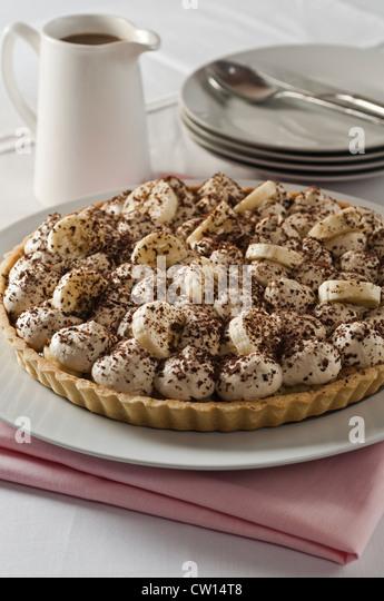 Banoffee pie Banana toffee cream dessert - Stock Image