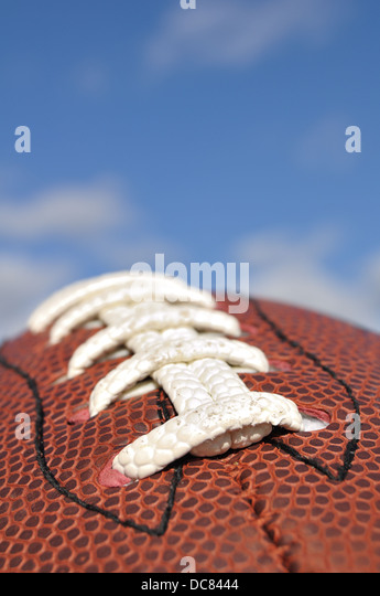 Close up of an American football, USA - Stock Image