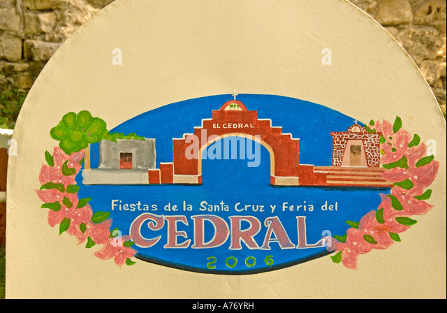 Cozumel Mexico El Cedral Archaeological Site red sign with art work - Stock Image