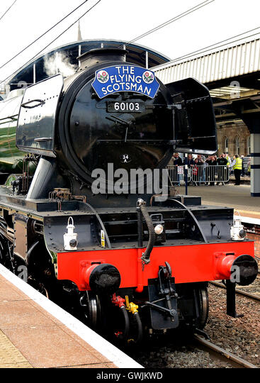 The legendary Flying Scotsman train came to Newcastle and Durham in May 2016 - Stock Image