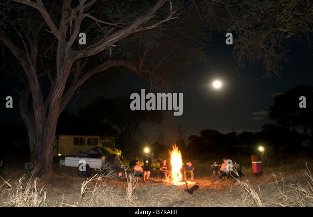 Camp site at night Kwai river - Stock Image
