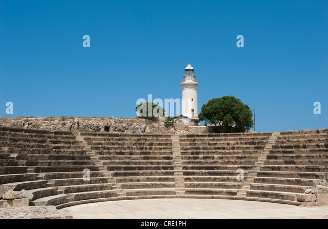 Archeology, ancient Odeon, modern lighthouse, Paphos, Pafos, Cyprus, Europe - Stock Image