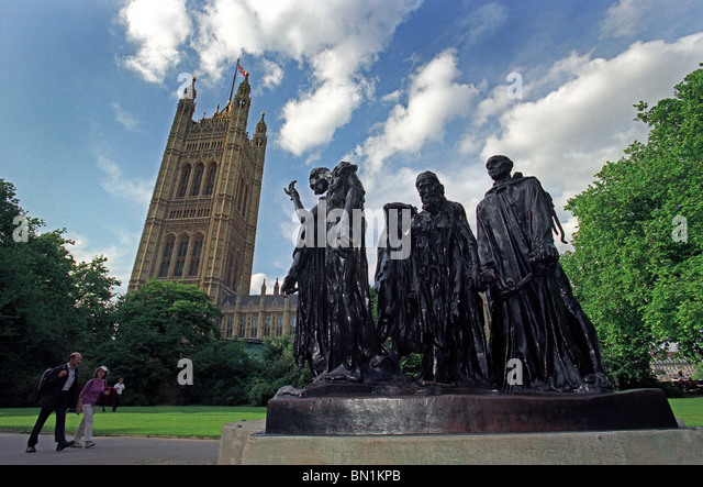 Les Bourgeois de Calais or The Burghers of Calais in Victoria Tower Gardens by the Houses of Parliament in London, - Stock Image
