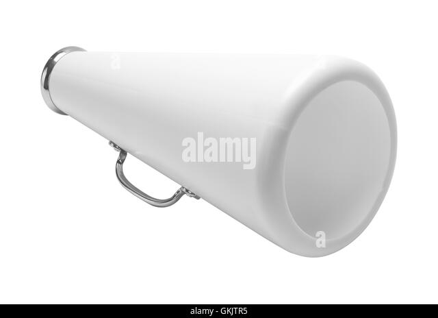 White Cheer Megaphone Cut Out Isolated on White Background. - Stock Image