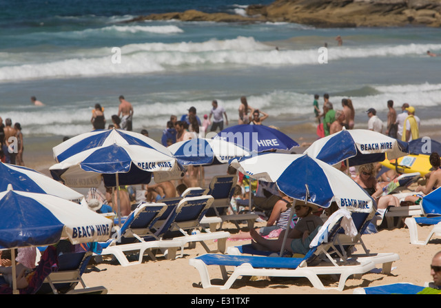 a congested Manly beach on Sydney's northern beaches,NSW,Australia - Stock Image