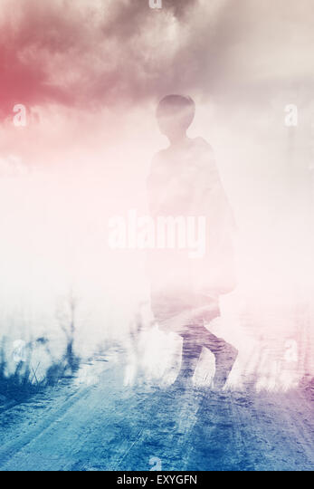 Woman Walking Through Countryside, Anxiety Concept, Double Exposure, Abstract Composition - Stock-Bilder