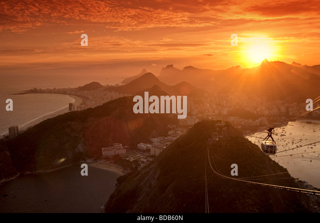 panoramic view from viewpoint at Pao de Acucar, Sugarloaf mountain, Copacabana and Guanabara bay in Rio de Janeiro - Stock Image