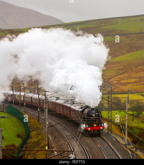 Tebay, Cumbria, UK 6th February, 2016 Steam Locomotive BR 60103 FLYING SCOTSMAN travelling up the West Coast Main - Stock Image