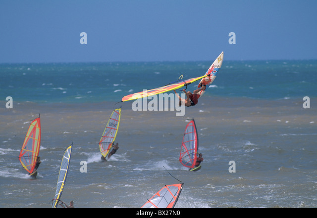 wind surfing surfing sea sport water sport Ho Okipa Beach park Maui Hawaii USA United States America - Stock Image