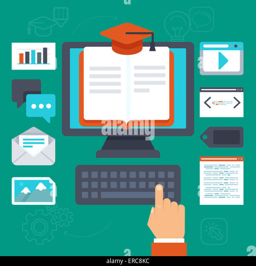 Online  education concept - illustration in flat style - Stock Image