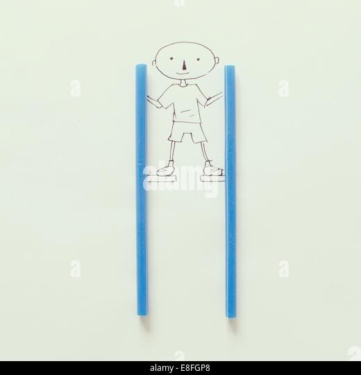 Illustration of boy on stilts - Stock-Bilder