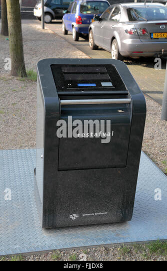 An electronic waste bin in Eindhoven, Noord-Brabant, Netherlands. - Stock Image
