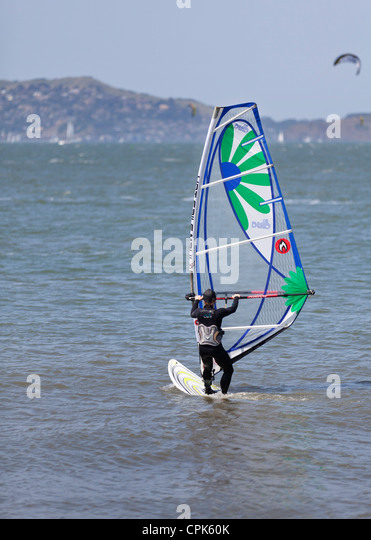 Windsurfer on the water - San Francisco, California USA - Stock Image