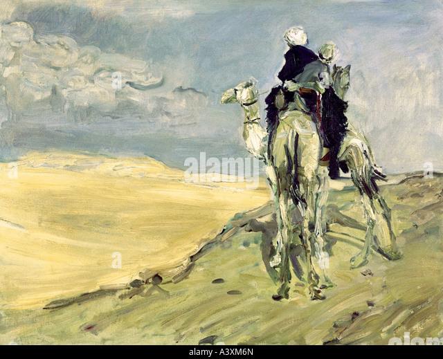 'fine arts, Slevogt, Max (8.10.1868 - 20.9.1932), painting 'Sandsturm in der Wüste', 1914, Gemäldegalerie - Stock Image