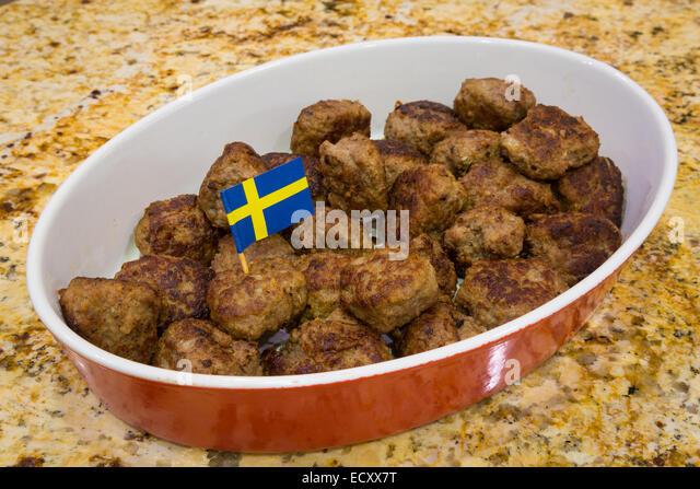 Typical Swedish Meatballs dish - Stock Image