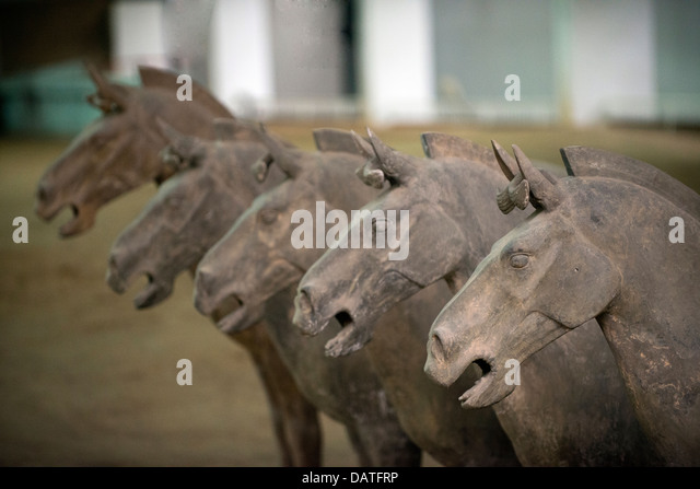 Xi'an terracotta horses, China - Stock Image