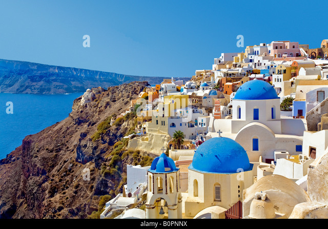 City with ocean view Oia Santorini Greece - Stock Image